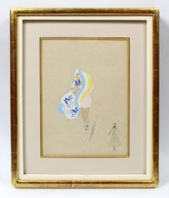 1910's Art Deco Erte Gouache Painting Original Hand Signed Rare French Costume