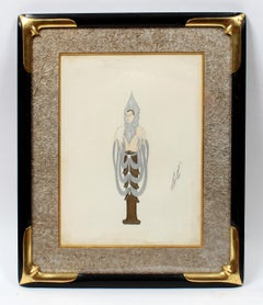 1910's Art Deco Erte Gouache Painting Original Hand Signed Rare French Nude
