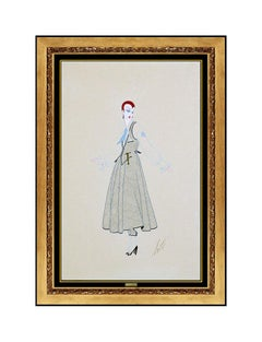 ERTE Original Costume Design Gouache Painting Art Deco Antique Signed Tirtoff