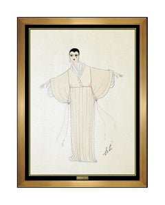 ERTE Original Gouache Painting Art Deco Costume Dress Design Signed Fashion Art