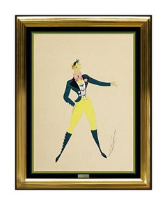 ERTE Original Gouache Painting Authentic Signed Deco Artwork Male Costume Design