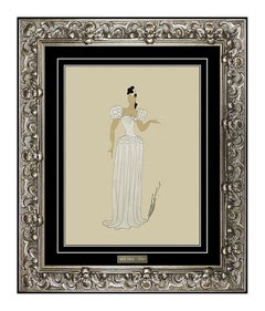 ERTE Original Gouache Painting Hand Signed Paris Oprea Costume Dress Design Deco