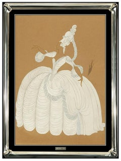 Erte Original Gouache Painting Signed Art Deco Dress Costume Design Fashion SBO