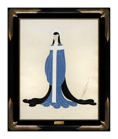 ERTE Original Gouache Painting Signed Artwork Costume Dress Design Nude Female