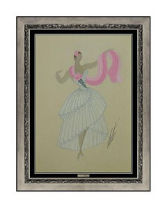Erte Rare Original Gouache Painting Dress Costume Design Art Deco Romain Tirtoff