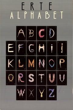 1977 After Erte 'Alphabet' Art Deco Multicolor,Gray Offset Lithograph