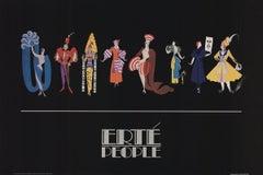 1981 After Erte 'Fashion People' Art Deco Multicolor,Black USA Offset Lithograph