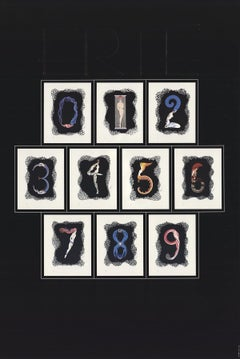 1981 After Erte 'Numbers' Art Deco Multicolor,Gray USA Offset Lithograph