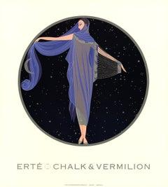1992 After Erte 'Moonlight' Art Deco Blue,Black USA Offset Lithograph