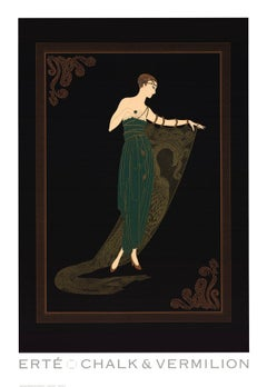1992 After Erte 'Emerald Night' Art Deco Black,Green,Brown USA Offset Lithograph