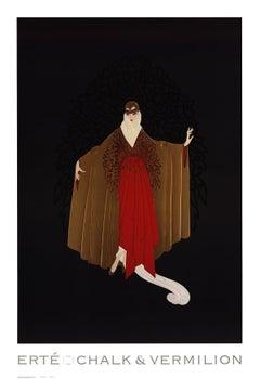 1993 After Erte 'Place De L'Opera' Art Deco Black,Brown,Red Offset Lithograph