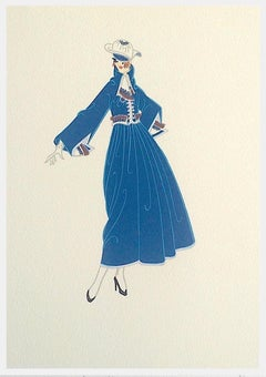 BON SOIR Signed Lithograph, 1920's Fashion Illustration, Art Deco Portrait