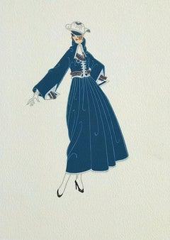 BON SOIR Signed Lithograph, 1920's Fashion Illustration, Art Deco Portrait