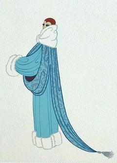 ELEGANCE Signed Lithograph, 1920's Fashion Illustration, Art Deco Portrait