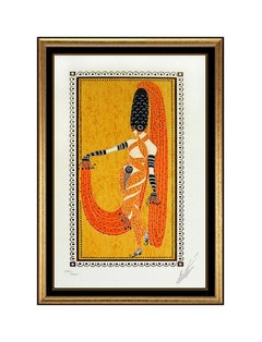 """Erte Authentic Hand Signed and Numbered Color Serigraph """"Pearl of the Orient"""", P"""