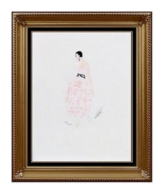 ERTE Color Lithograph Original Art Deco Dress Costume Design Signed Art Tirtoff