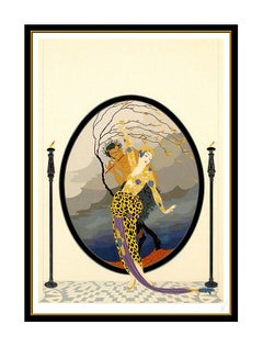 ERTE Color Serigraph Woman Satyr Set Design Signed Romain Tirtoff Deco Artwork