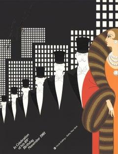 "Erte--Erte's 89th Birthday-30.5"" x 23""-Serigraph-1981-Art Deco-Black & White"