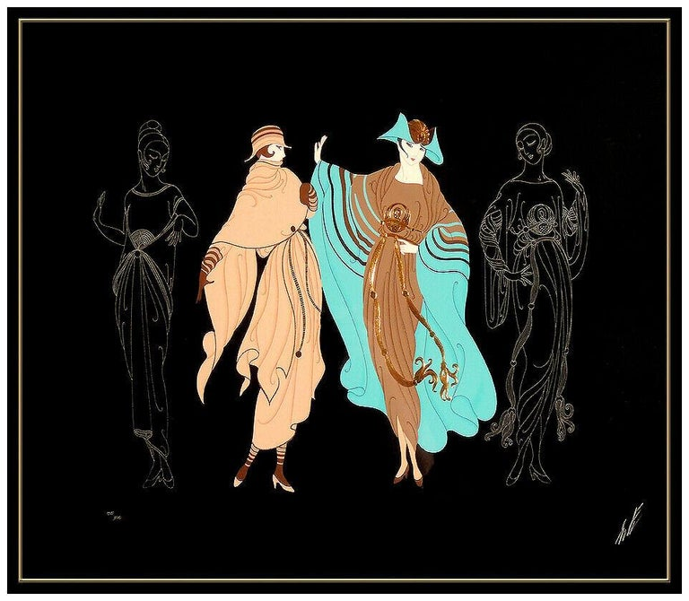 Erte Large Embossed Serigraph On The Avenue Hand Signed Dress Design Metropolis - Art Deco Print by Erté