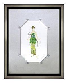 ERTE Original Dinarzade Color Serigraph Signed Deco Artwork Fashion Dress Design