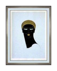 ERTE Queen Of Sheba Original Color Serigraph Art Deco Female Portrait Signed Art