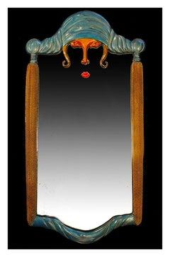 Erte Scheherazade Bronze Sculpture Art Deco Wall Mirror Signed Romain Tirtoff