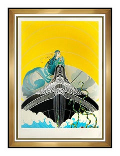 ERTE Surprises of Sea Color Serigraph Set Design Art Deco Signed Romain Tirtoff