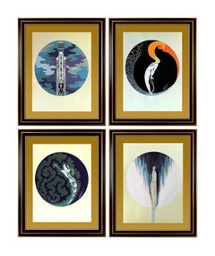 ERTE The Four Emotions Suite Hand Signed Art Deco Embossed Serigraphs Sculpture