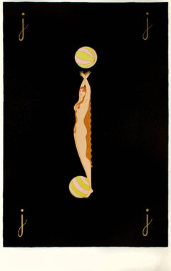"Letter ""J"" - Original Lithograph and Screen Print by Erté - 1976"