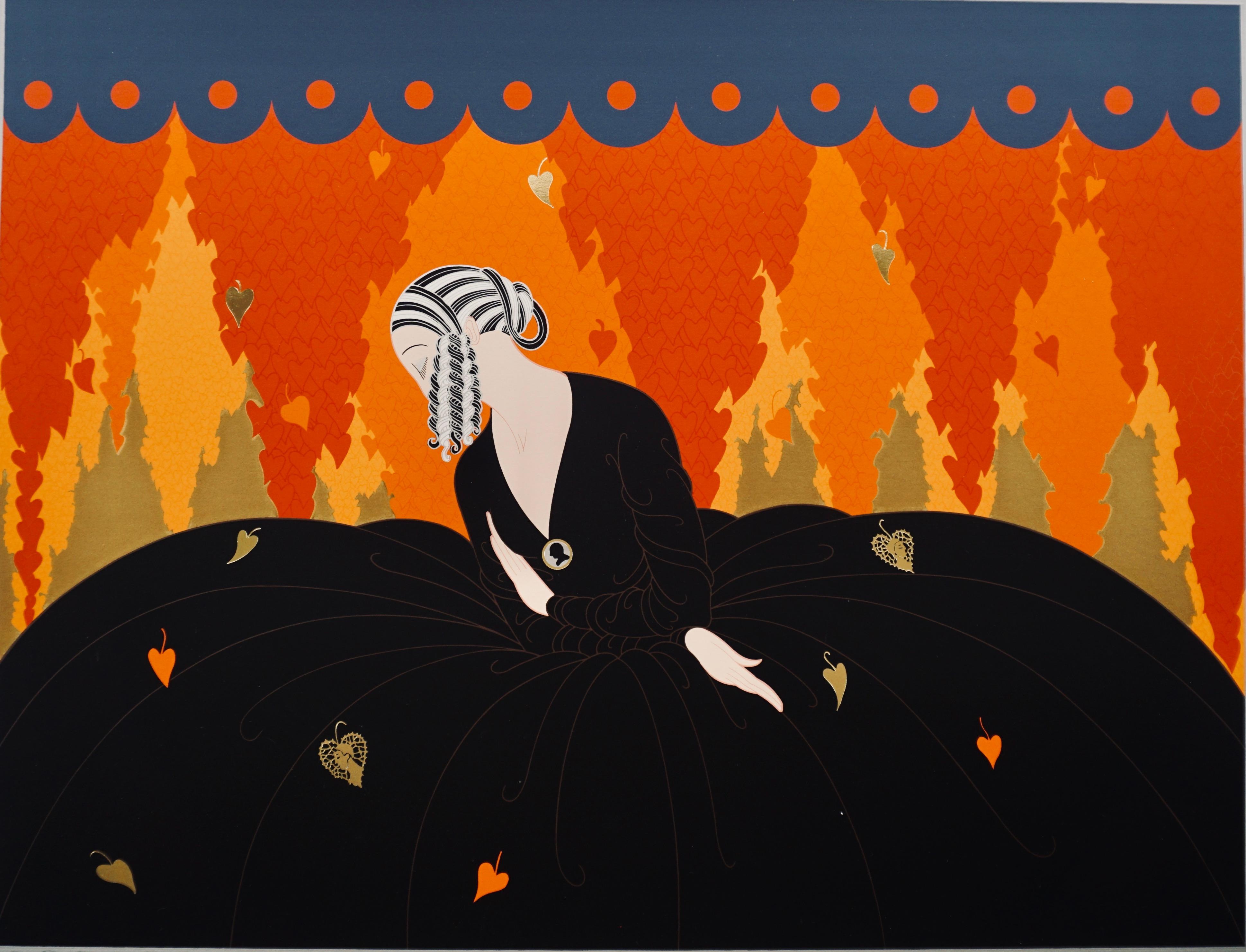 """""""Memories""""  1984, Art Deco signed lithography by Erte"""