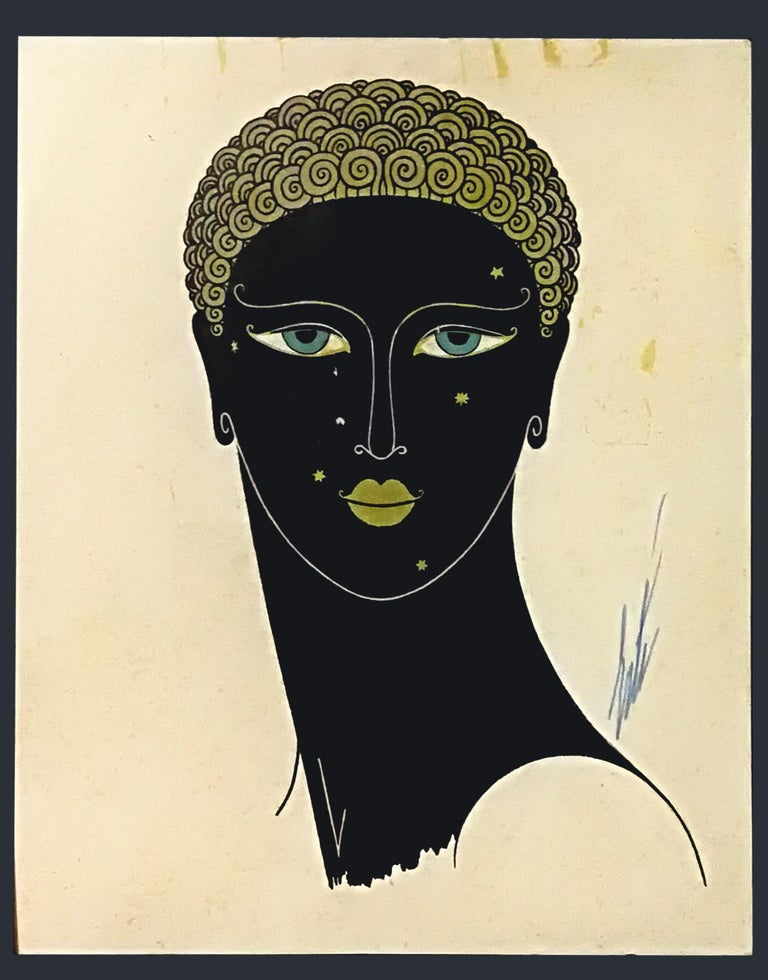 Image dimensions: 27x22 cm.  Queen of Sheba is an original colored serigraph realized in the 1980s by the Russian artist Erté.  Good conditions except for some light foxings and yellowing of paper due to the time.  Hand sign in blue ink lower
