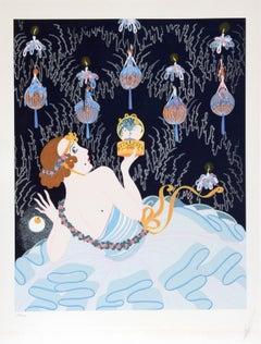 Stolen Kisses, Art Deco Serigraph by Erté