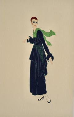 The Blue Dress, Art Deco signed lithography by Erte