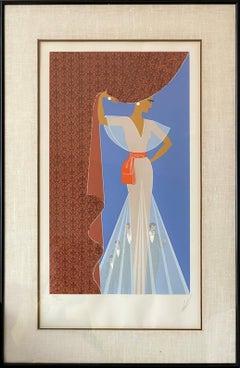 The Curtain, Art Deco Print by Erte 1977