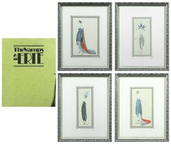 The Vamps by Erté set of four framed lithographs and original folder with tassel