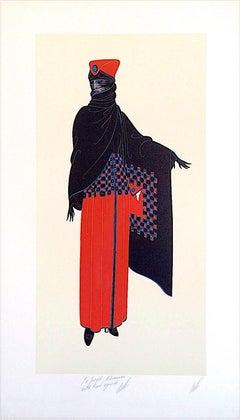 ZSA ZSA Signed Lithograph, 1920's Fashion Illustration, Art Deco, Black Cape