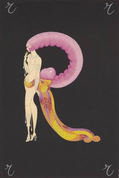 The Letter R from Alphabet Suite (R in form of glamorous showgirl with headdress