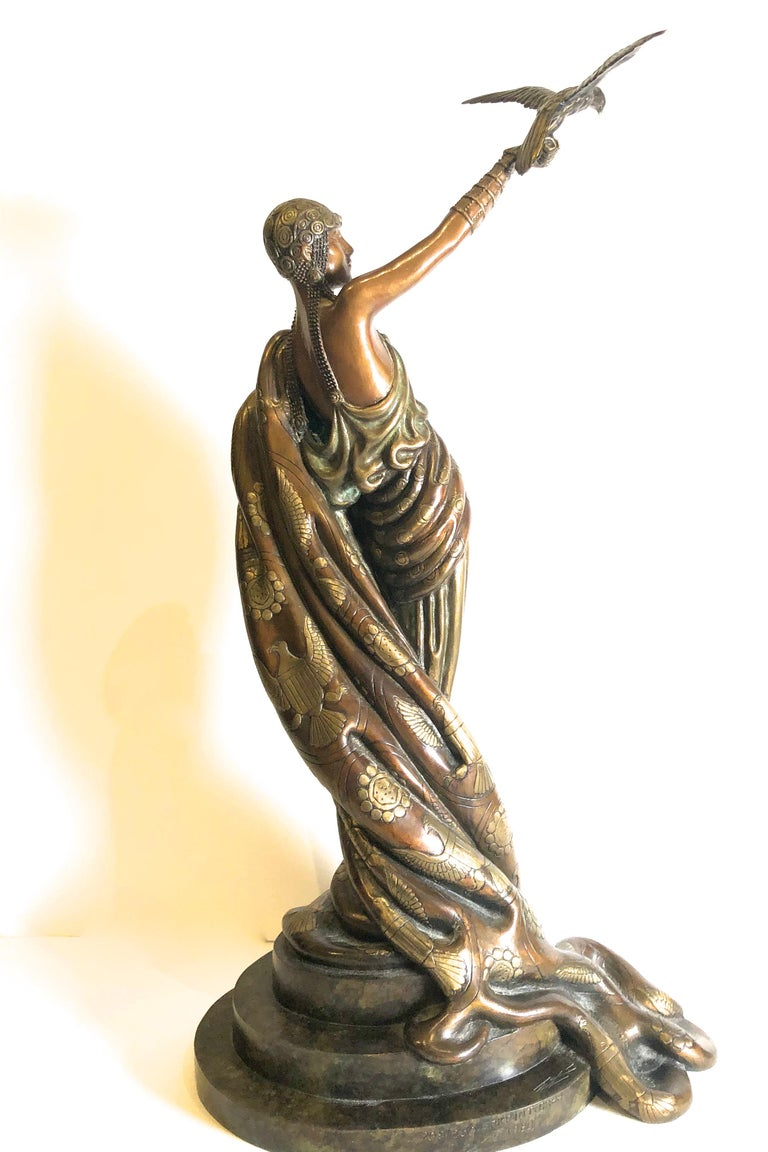 Victoire, bronze polychrome sculpture  - Gold Figurative Sculpture by Erte (Romain de Tirtoff)