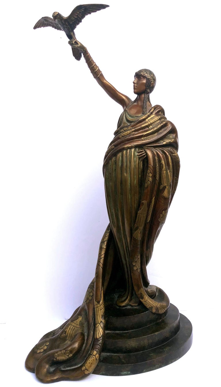 Erte (Romain de Tirtoff) Figurative Sculpture - Victoire, bronze polychrome sculpture
