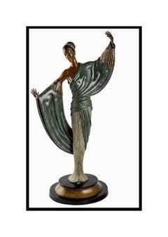 $22,000 ERTE Signed BRONZE Sculpture IN THE EVENING Original ART DECO antique