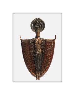 Erte Indochina Bronze Sculpture Hand Mirror Signed Art Deco Female Nude Artwork