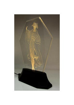 Erte Original Etched Crystal Glass Luminaire Sculpture Tassels Signed Art Deco