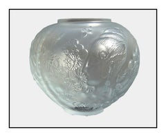 Erte RARE Original Crystal Relief Bowl Flower Among Flowers Signed Art Deco Vase