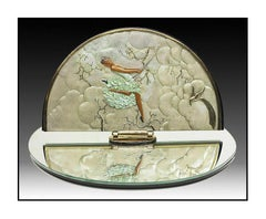 Erte Rare Original Joy Of Life Bronze Sculpture Table Mirror Signed Art Deco SBO