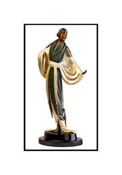 ERTE Signed BRONZE SCULPTURE Belle De Nuit Original ART antique $16,000 RARE