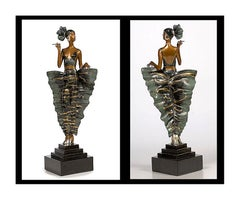 ERTE Signed BRONZE Sculpture FEMME FATALE Mint Original Romain de Tirtoff OFFERS