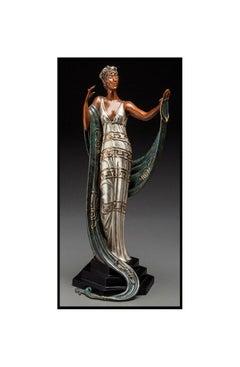 ERTE Signed BRONZE Sculpture LA COQUETTE Original ART antique Female oil