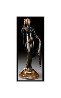 ERTE Signed BRONZE Sculpture LA MASQUE Original Romain de Tirtoff $25,000 RARE