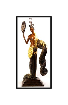ERTE Signed BRONZE SCULPTURE Large BAMBOO Original ART antique painting OFFERS