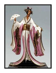 ERTE Signed BRONZE Sculpture MADAME BUTTERFLY Original Romain de Tirtoff art 18K